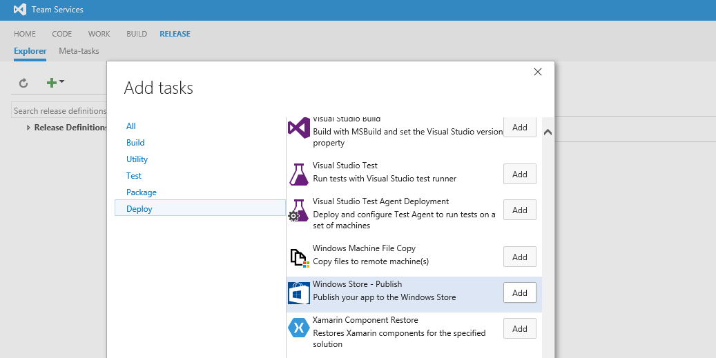 "Screenshot of the ""Add tasks"" dialog, with the ""Windows Store - Publish"" task highlighted"