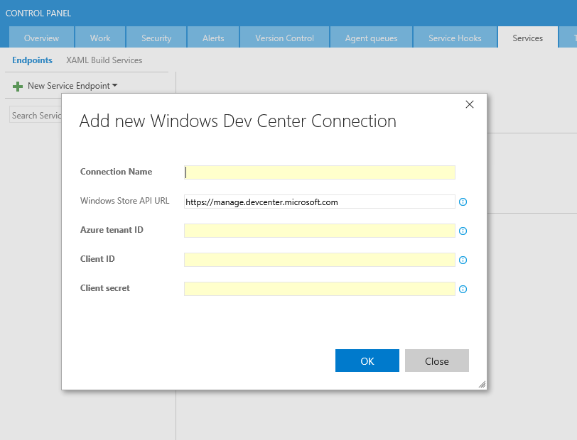 """Screenshot of the """"Add new Windows Dev Center Connection"""" dialog"""